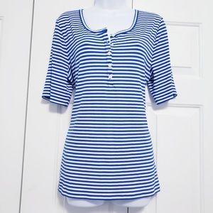 J. Crew Blue & White Striped Ribbed T-Shirt Sz XL